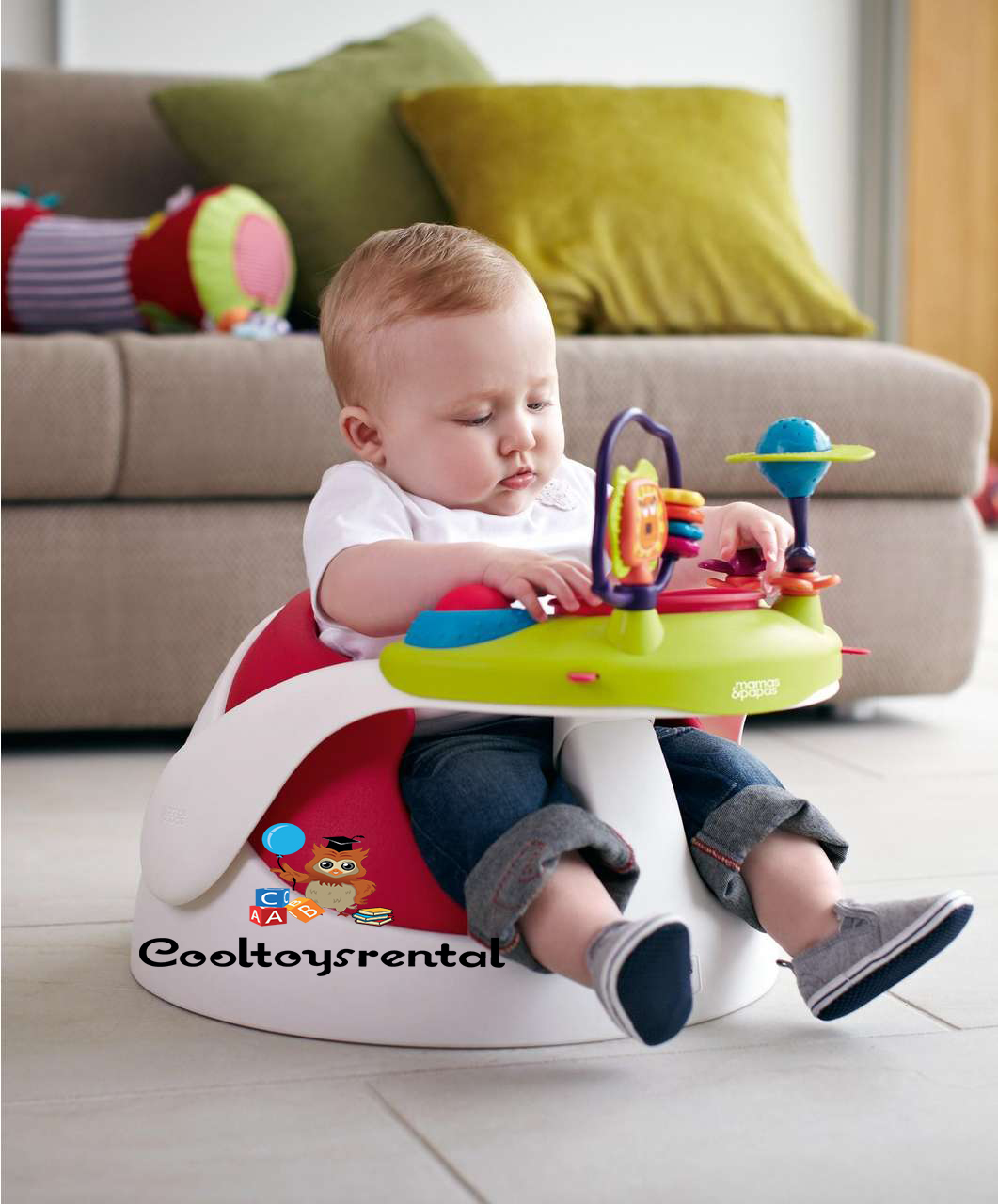 Mamas Papas Baby Snug Floor Seat With Play Tray Red